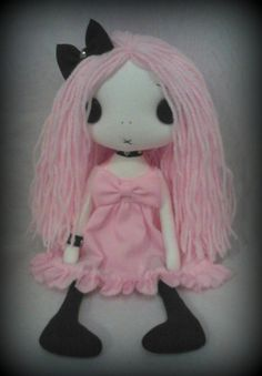 Gothic Rag Doll  Abigail the pastel goth by ChamberOfDolls on Etsy, £27.50