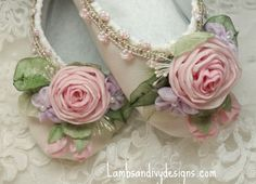 Fairy Princess Ballerina Shoes Roses Ribbon by lambsandivydesigns, $64.95