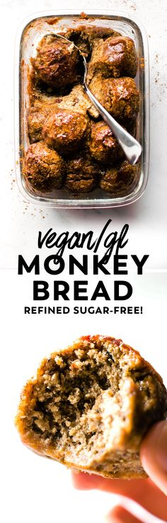 Cinnamon-spiced and sticky-sweet, this gluten-free vegan monkey bread is the ultimate pull-apart treat made with medjool dates, oats, and chia seeds! #vegan #glutenfree #healthy #cinnamon