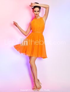 Homecoming Cocktail Party/Homecoming/Holiday Dress - Orange Plus Sizes A-line Jewel Short/Mini Chiffon 2015 – $89.99