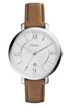 I want this, but with a black or grey strap.  Fossil 'Jacqueline' Round Leather Strap Watch, 36mm available at #Nordstrom