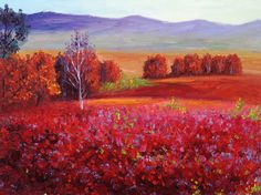 Red Meadow Painting Print on Wrapped Canvas