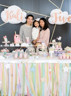 This geometric unicorn birthday party is totally magical! Confetti & Bows styled it to be as fun as can be for 5 year old Kali in pastel purple and pink!