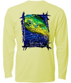 "Southern Cross Apparel ""Mahi"" performance long sleeve fishing shirt in Yellow."