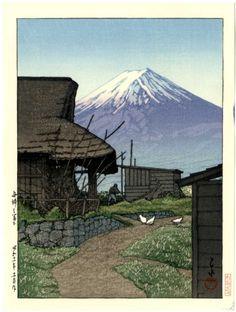 HASUI Japanese Woodblock Print Farm Under Fuji | eBay