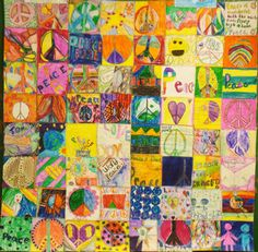 Peace Quilt  Zuni Hills Elementary School students, teachers and staff with the direction of Art Teacher, Debi Adams  Sun City, Arizona.   Zuni Hills Elementary School students, teachers and staff all participated in creating peace quilts for the Global Art Project exchange. Each person created a square with their personal vision of peace. Students stitched the squares together into quilts that were hung in the school. Two were sent to GAP partner, The Kent Children's Center in Kent…