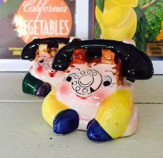 Vintage PY Anthropomorphic Telephone Salt and by BobsGoodJunk