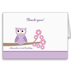 Shop Purple Hoot Owl Girl Birthday Thank you Purple created by artbyjessie. Purple Birthday, Girl Birthday, Birthday Ideas, Purple Owl, Pink, Birthday Thank You Cards, Purple Cards, Paper Owls, Custom Thank You Cards