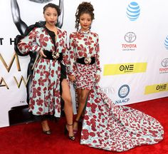 Chloe and Halle Bailey in Emmanuel Ungaro. NAACP Image Awards 2017.     #twinning