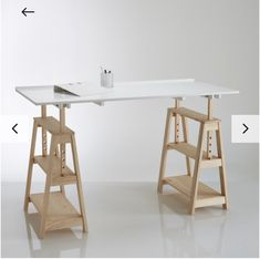 Furniture Dining Table, Pipe Furniture, Ikea Standing Desk, Scandinavian Desk, Pine Desk, Trestle Desk, Ikea Office, Office Spaces, Work Spaces