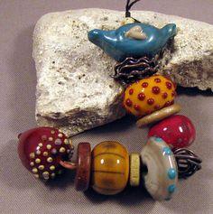 Handmade Lampwork Beads by Monaslampwork - Bird, Nest, Acorn set - Lampwork…