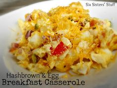 Hashbrown and Egg Breakfast Casserole from SixSistersStuff.com. Perfect for breakfast, lunch, or even dinner! My kids love this meal! #recipe #breakfast