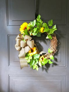 Fall Wreath for front Door, Sunflower Wreath, Farmhouse Wreath, Farmhouse Decor, Autumn Wreath, Fall Wreath, Small Wreath, Greenery Wreath by MaineMadeWreaths on Etsy