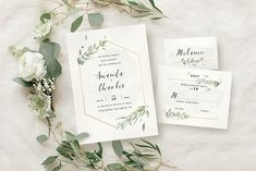 Modern Gold Foliage Wedding Suite by KlapauciusCo on @creativemarket