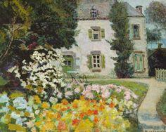 """Victor Charreton 1864-1937 """" Maison à Ploaré """" hsp 58.7x73"""