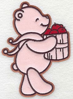 Bear carrying basket of apples applique | Applique Machine Embroidery Design or Pattern