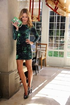 Green Long Sleeve Sequined Bodycon Dress | victoriaswing