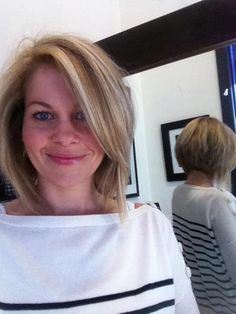 Candace Cameron Bure - new angled bob- absolutely love this!! Mary Samuel, you should do this if you go shorter.