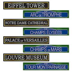 French Street Sign Cut Outs