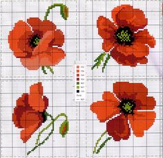 This Pin was discovered by DerCross stitch and tapestry pattern chart.poppies scheme free cross stitch for tableclothsquilting like crazy Hand Embroidery Patterns, Embroidery Art, Beading Patterns, Cross Stitch Embroidery, Cross Stitch Charts, Cross Stitch Designs, Cross Stitch Patterns, Poppy Pattern, Cross Stitch Flowers