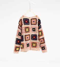 Image 2 of Crochet knit sweater from Zara Freeform Crochet, Crochet Granny, Irish Crochet, Crochet Stitches, Crochet Jumper, Crochet Cardigan, Knit Crochet, Crochet Long Sleeve Tops, Granny Square Sweater