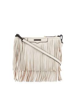 V2X4M Rebecca Minkoff Finn Fringe Leather Crossbody Bag, Putty