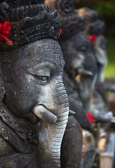 Ganesha - remover of obstacles - statues at The Chedi Club Tanah Gajah, Ubud, Bali, Indonesia