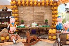 decoração fácil de fazer para festa de anivesário três porquinhos