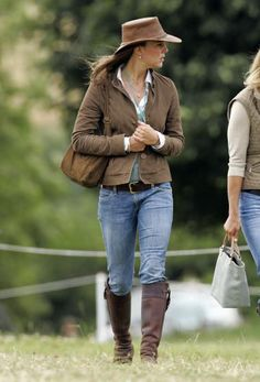 """<span style=""""font-size:medium;""""><strong>Western Beauty</strong></span><br> For the Festival of British Evening at Gatcombe Park, in Stroud, England, Middleton chose comfortable jeans, riding boots and a brown hat. Aug. 6, 2005"""