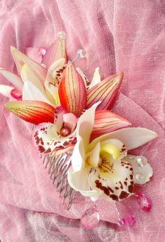 TROPICAL FLOWER CLIP  Hawaiian Orchids Bridal Flowers by MalamaPua, $39.99