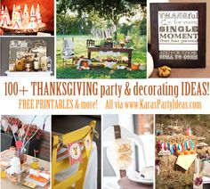 100+ Thanksgiving party & decorating ideas! FREE printables & more! Via www.KarasPartyIdeas.com #thanksgiving #decorating #ideas #party