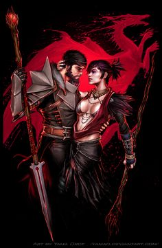 Dragon Age - Hawke  Morrigan fv by YamaO.deviantart.com on @deviantART