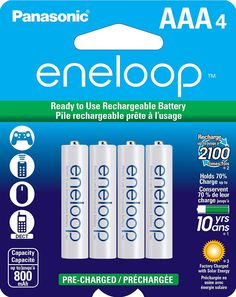Panasonic eneloop AAA New 2100 Cycle Ni-MH Pre-Charged Rechargeable Batteries, 8 Pack Lead Acid Battery, Cell Phone Accessories, Watch Accessories, Consumer Electronics, Amazon Electronics, Charger, Cool Things To Buy, Cycling