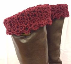 Boot Cuffs, Crocheted Leg Warmers, Boot Toppers, Sock Toppers, Burgundy Wine Color, Winter Accessories, Girls/Women's Gifts, Gifts for Teens - pinned by pin4etsy.com