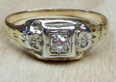 Vintage Antique .12ct Diamond 14k White Gold by DiamondAddiction, $285.00