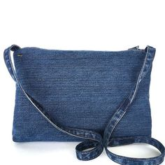 Recycled crossbody bag small blue jean side bag by Sisoibags