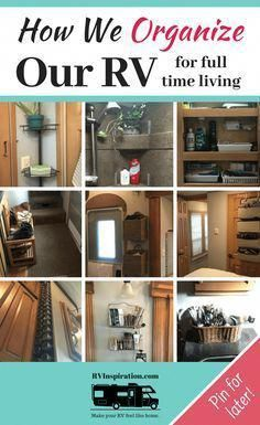 """In this """"tour"""" of our #RV I share some of the ways I've organized our #fifthwheel #camper for full time living! #RVcamping"""