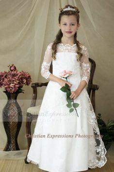 Organza overlay with all over lace and pearl beading Three quarter sleeves
