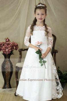 314ee0a5a Organza Overlay First Communion Dress with Three Quarter Sleeves. Vestidos  De ...