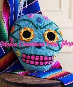 MTO Sugar Skull Pillow Day of the Dead Pillow Skeleton Pillow Halloween Pillow Crochet Gratis, Crochet Amigurumi, Crochet Yarn, Free Crochet, Crochet Cushions, Crochet Pillow, Crochet Skull Patterns, Knitting Patterns, Crochet Pour Halloween