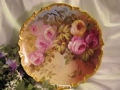 """Exquisite Vintage Limoges French Antique Roses 13 1/4"""" PLAQUE Hand Painted Victorian Floral Art Charger c1900 China Painting Artist Signed Classical French Still Life"""