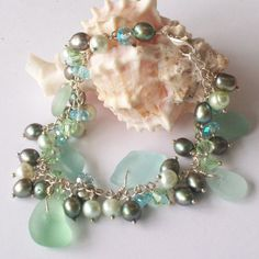 Seafoam Green Sea Glass Bracelet with Fresh Water Pearls and Crystals
