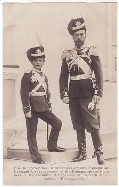 Tsar Nicholas II (Nikolay Alexandrovich Romanov) (1868-1918) Russia & 5th child & only son Tsarevich Alexei Nikolaevich Romanov (1904-1918) Russia 1915.