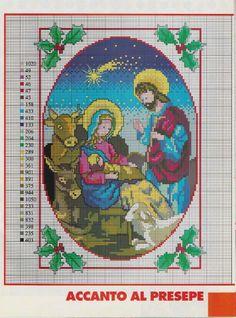 Beautiful cross stitch of the Nativity scene Cross Stitch Cards, Beaded Cross Stitch, Cross Stitching, Cross Stitch Embroidery, Cross Stitch Patterns, Cross Stitch Christmas Ornaments, Christmas Embroidery, Christmas Cross, Little Stitch