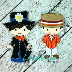 Mary and Bert Outfit for the Non Paper Flat Felt Dolls. These itesms and more are available for purchase at https://www.etsy.com/shop/SchoolhouseBoutique