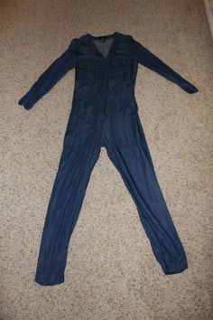 23745938653 Women s H M Blue Denim Overall Jumpsuit With Buttons Size 2 IN GUC  fashion   clothing