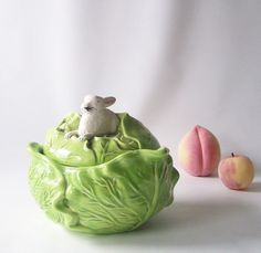 vintage white rabbit green lettuce cabbage by RecycleBuyVintage, $20.00