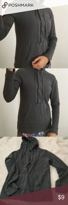 Gap S Grey Hooded Sweatshirt with Pocket Dark Grey S women's hooded sweatshirt with front pocket, and buttons. Long sleeves, and comfortable hood with drawstrings. In excellent condition. GAP Tops Sweatshirts & Hoodies