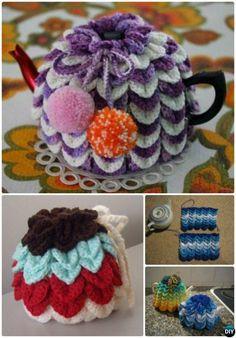 Crochet Scallop Tea Cozy Free Pattern-20 Crochet Knit Tea Cozy Free Patterns