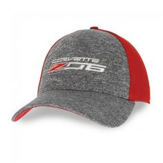 Z06 New Era Fitted Cap - Scarlet Red/Shadow Heather  Z06 and New Era styles come through on this structured heather gray crown with red mesh back and red under-bill. C7 Corvette signature and Z06 logo embroidered on front. Fitted. Imported.  SKU: CM2-MC476